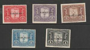 El Salvador Stamps 1935 American Games Overprint Habilitado