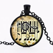 Music Notes, Key Board and Clef Cabochon Necklace Music Lovers