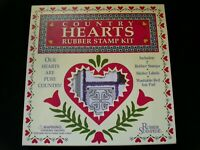Rubber Stampede COUNTRY HEARTS Rubber Stamp Kit NIP #951 7 Stamps Ink Pad & More