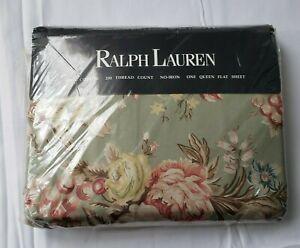 Ralph Lauren Queen Flat Sheet Charlotte IV Green sage Floral Rose Vintage NEW