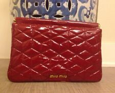 MIU MIU Authentic RED  Matelasse Ruche Leather Clutch Wristlet Wallet. Rare