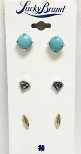 LUCKY BRAND SET OF 3 SILVER+GOLD TONE,TURQUOISE,DIAMOND STUD EARRINGS JLRY3890