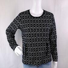 J Jill Womens sz M Black Geometric Print Pullover Sweater Kangaroo Pocket L/S