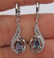 85cb10fb3e1 925 Silver Women Waterdrop Long Mystic Topaz GEMSTONE Wedding Earrings Gift