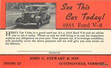 1935 Ford V-8 Stewart Auto Dealership Cuttingsville Vermont postcard 1217