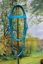"Draft horse beta biothane riding bridle with 6"" O ring snaffle bit BLUE USA made"