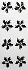 8 Auto Adhesivo Black & Clear Flor Gema Pegatinas Para Bodas Tarjeta Art & Craft