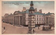 Postcard Derry's Clock Tower Royal Hotel and Theatre Plymouth UK