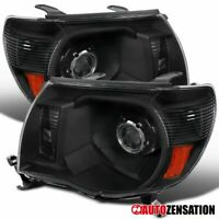 For 2005-2011 Toyota Tacoma Black Clear Projector Headlights Head Lamps Pair