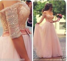 Pink Half Sleeve Lace Wedding Dress Ball Gown Bridal Gown Custom Size 4-18+