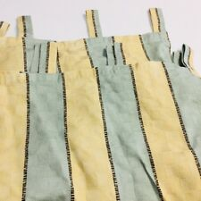 Waverly Soho Stripe Pewter Custom Drapery 4 Tab Top Panel Curtain Set Upholstery