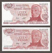 Argentina 100 Pesos N.D. (1976); UNC; P-302a,b; Coastline, set of 2 notes