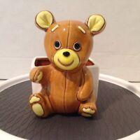 """Vintage Teddy Bear Lefton Planter Brown Glazed Ceramic Japan 6"""" Foil Tag"""
