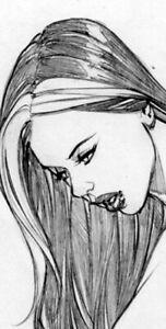 HOT ROGUE NAUGHTY GIRL SK#1238 FANTASY ORIGINAL PINUP GIRL ART by ALEX MIRANDA