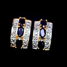 925 Sterling Silber Ohrringe, Gelbgold beschichtet, 3x5mm. Blau Saphir & Diamond