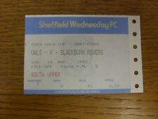 14/03/1993 Ticket: Football League Cup Semi-Final, Sheffield Wednesday v Blackbu