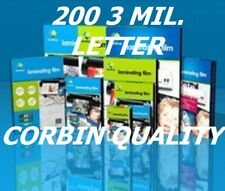 200 Letter Laminating Pouches Laminator Sheets 3 Mil 9 x 11-1/2 Quality