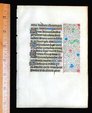MEDIEVAL ILLUMINATED MANUSCRIPT  BOOK OF HOURS LEAF 1450, BORDERS, GOLD