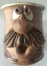 Handmade Funny Face Pottery Signed 3-D Mug Cup Folk Art Big Nose Mustache