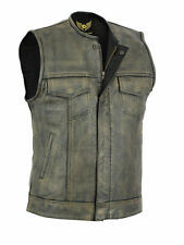Leatherick Sons of anarchy distressed brown vintage biker leather waistcoat vest
