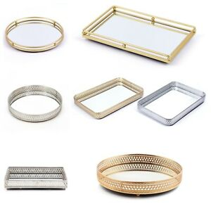 Decorative Mirrored Tray Tealight Candle Jewelry Perfume Holder Mirror Tray