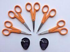 "Lot of 5 Fiskars ORANGE 5"" Micro-tip Precision Scissors + Sewsharp Sharpener NEW"
