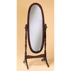 Oval Cheval Mirror Full Length Solid Wood Floor Mirror Cherry Finish Bedroom
