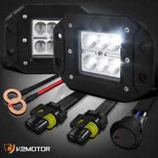 X2 6-LED 18w Cree Flood Beam Off Road 4X4 Fog Light +14 gauge wiring harness kit