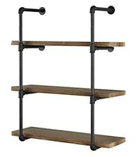 2 Pcs 3Tier Hardware Only Industrial Wall Mount Iron Pipe Shelf Shelves