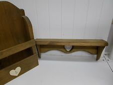 KW-319 Hanging Wood Wall Rack for Mail/ Magazines and wooden shelf with heart