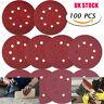 100Pcs 5 Inch 8 Holes Sanding Discs Grit Hoop Loop Sandpaper for Orbital Sander
