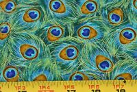 "15"" Long, Blue Green Metallic-Gold Peacock Plume Cotton/Timeless Treasures,P3244"