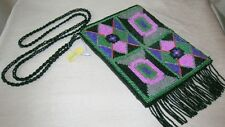 New Ermo Beaded Bag Purse with beaded fringe Black / Pink / Green FREE SHIPPING