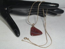 VINTAGE MEN'S BROWN POLISHED AGATE STONE PENDANT NECKLACE CHAIN