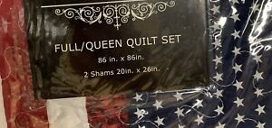 Americana Red, White & Blue Queen Quilt Set - New With Tags