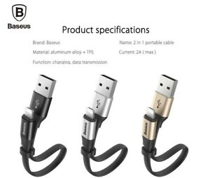 BASEUS 2 in1 120cm Micro USB Lightning 8 pin Charging Sync Short Data Cable Cord
