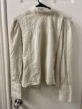 isabel marant Etoile Cotton Cream Long Sleeve Blouse Top Sz 38