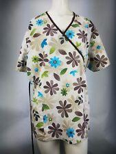 SB scrubs XL Women tie back two-pocket flower pattern