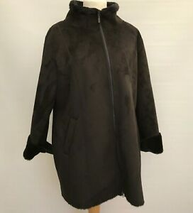 WALLIS Dark Brown Faux Suede Jacket / Coat Size UK L (18?)