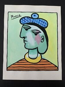 """Picasso Signed Art Painting of Person On Paper 11"""" x 8.5"""""""