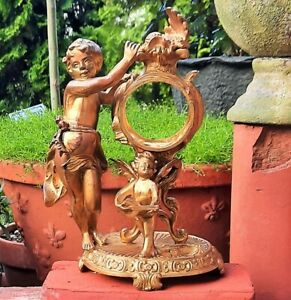 NIGHTSTAND clock antique bronze spelter boy angel gold ormolu ring holder statue