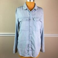 "Kut from the Kloth Womens Top Tencel Denim Light Wash Pearl ""Snap"" Button Size L"