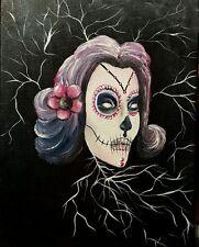 "Lady Cane ""sugar skull"", Acrylic, Surrealism, fantasy, Signed, Original"