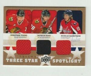 Toews,Kane,Backstrom 08-09 UD Trilogy Three Star Spotlight Jersey 2008-09