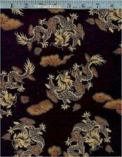 Oriental Dragons, Gold Accented Cotton Fabric, 1 Yard, Hoffman International