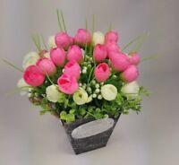 Cute Silk Flower arrangement in Wooden Pot