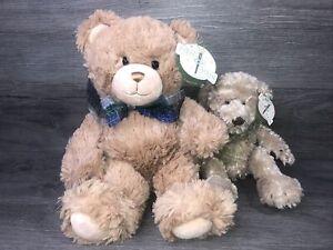 "2 First & Main 12"" Brown Dean Teddy Bear & 8"" Newton Bear Soft And Fluffy"