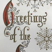 Vintage Mid Century Christmas Greeting Card Silvered Snowflakes Gold Handwriting