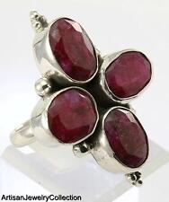 RUBY SIZE 9 RING 925 STERLING SILVER ARTISAN JEWELRY COLLECTION H130
