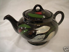 *VTG* GLOSSY BROWN TEAPOT by ROYAL CANADIAN ART POTTERY TEAPOT W/PAINTED FLOWERS